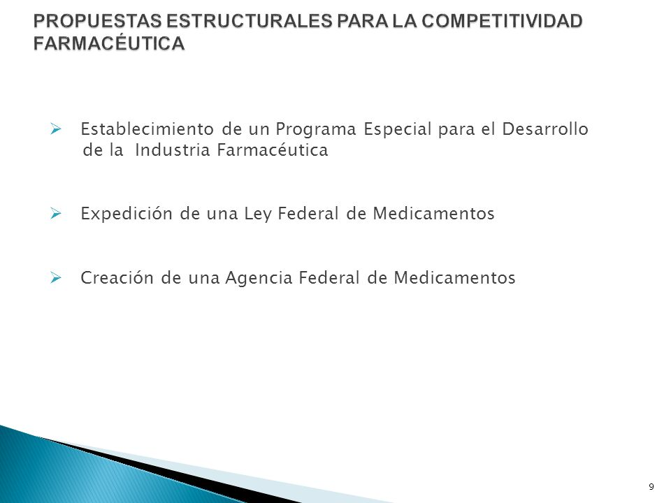 PROPUESTAS ESTRUCTURALES PARA LA COMPETITIVIDAD FARMACÉUTICA