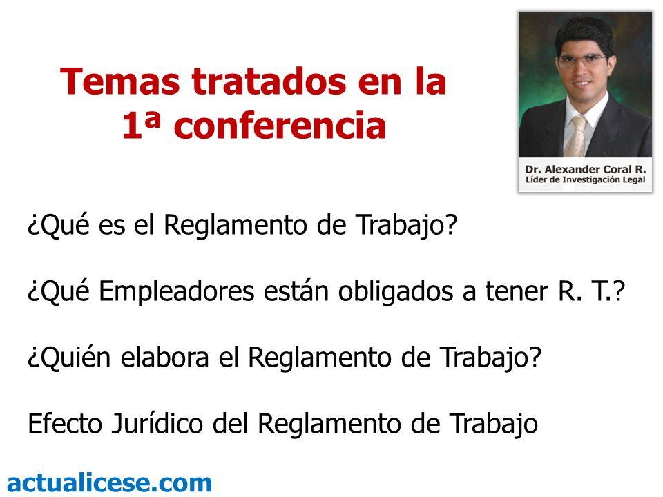 Temas tratados en la 1ª conferencia