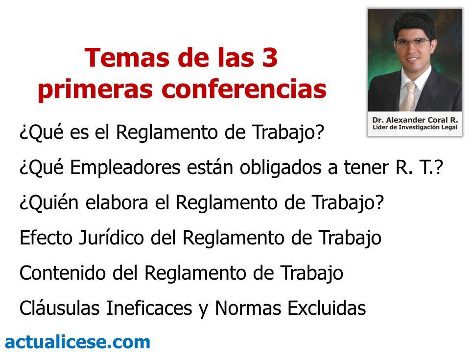 Temas de las 3 primeras conferencias