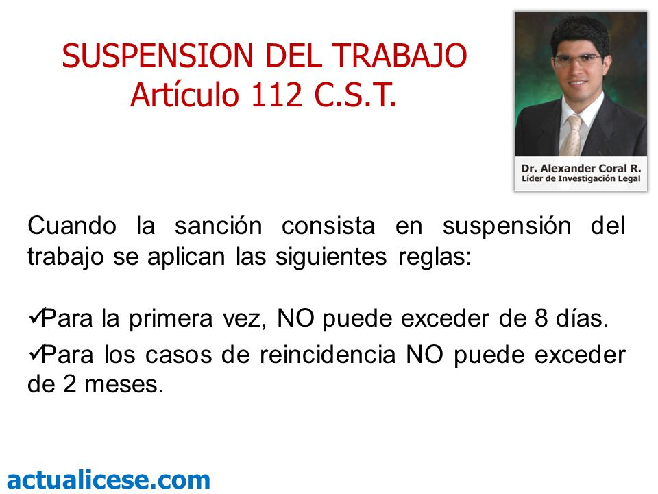 SUSPENSION DEL TRABAJO