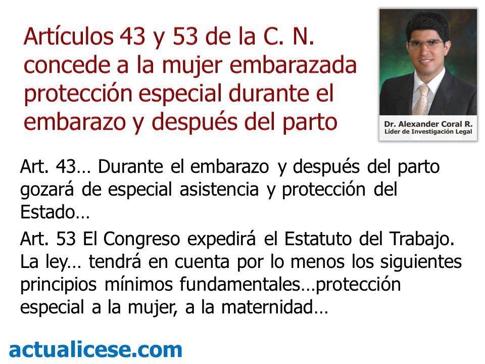 Artículos 43 y 53 de la C. N. concede a la mujer embarazada protección especial durante el embarazo y después del parto