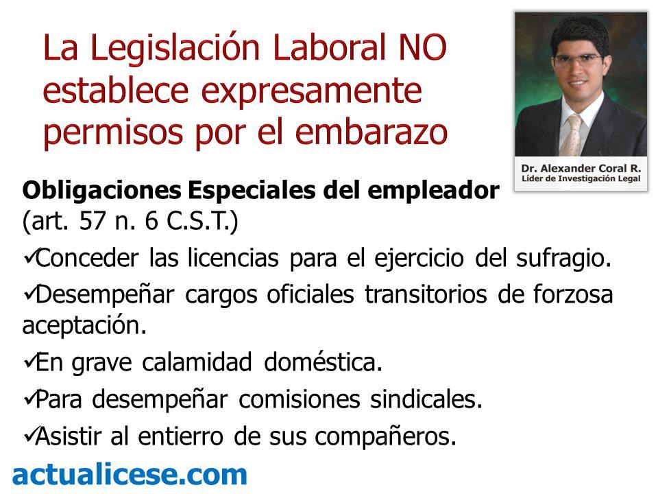 La Legislación Laboral NO establece expresamente permisos por el embarazo