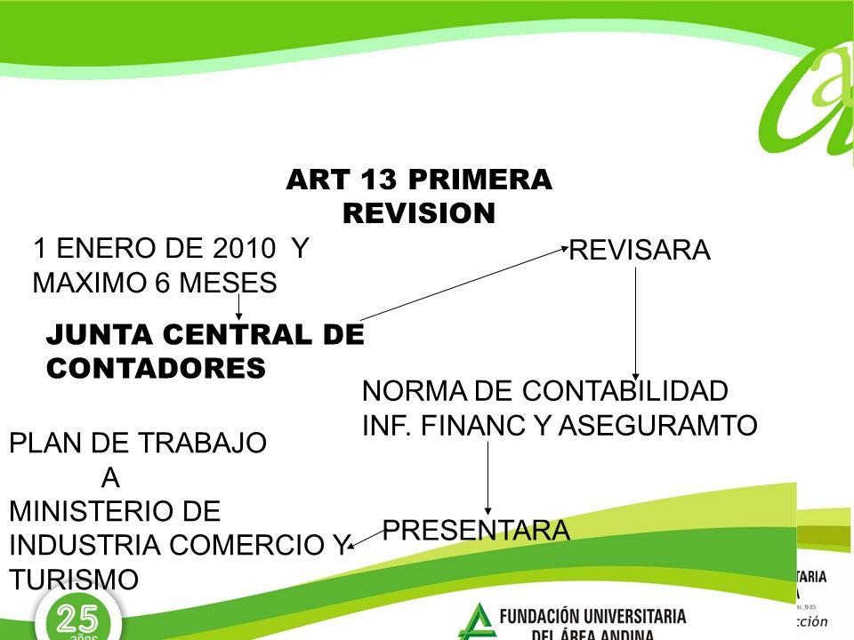 ART 13 PRIMERA REVISION1 ENERO DE 2010 Y MAXIMO 6 MESES. REVISARA. JUNTA CENTRAL DE CONTADORES. NORMA DE CONTABILIDAD.