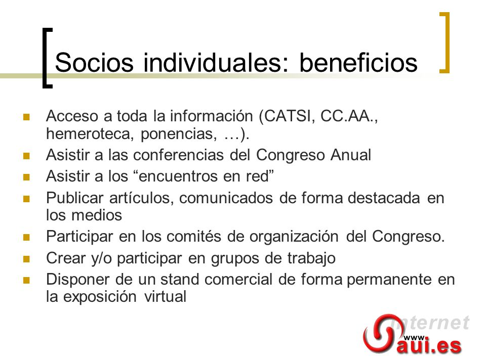 Socios individuales: beneficios