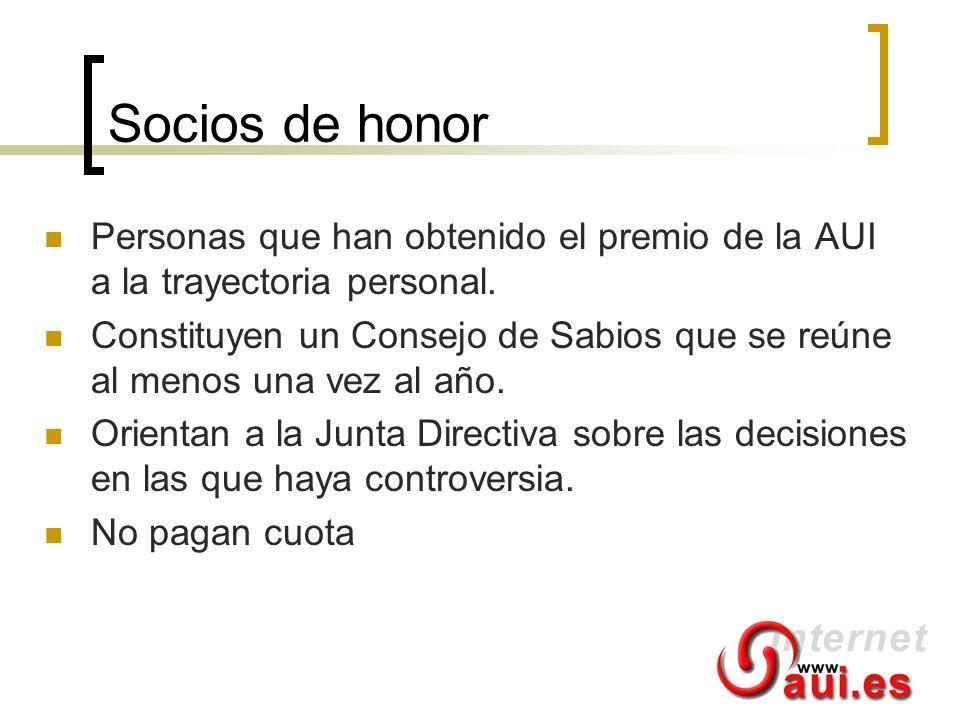 Socios de honor Personas que han obtenido el premio de la AUI a la trayectoria personal.