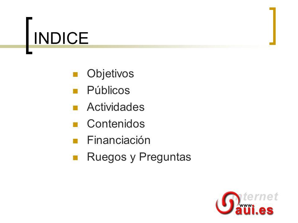INDICE Objetivos Públicos Actividades Contenidos Financiación