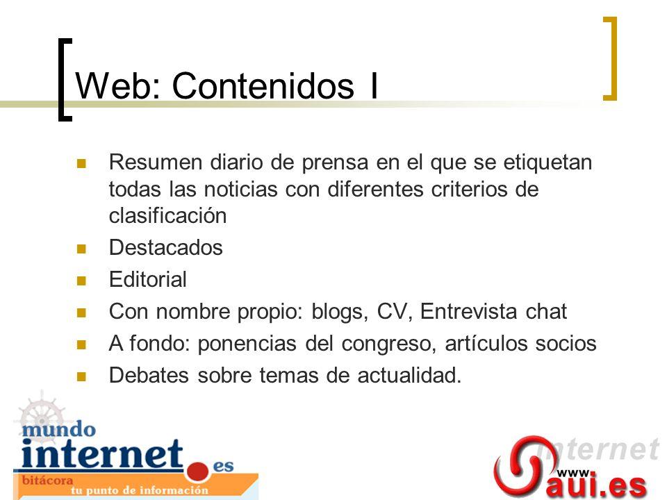Web: Contenidos I Resumen diario de prensa en el que se etiquetan todas las noticias con diferentes criterios de clasificación.