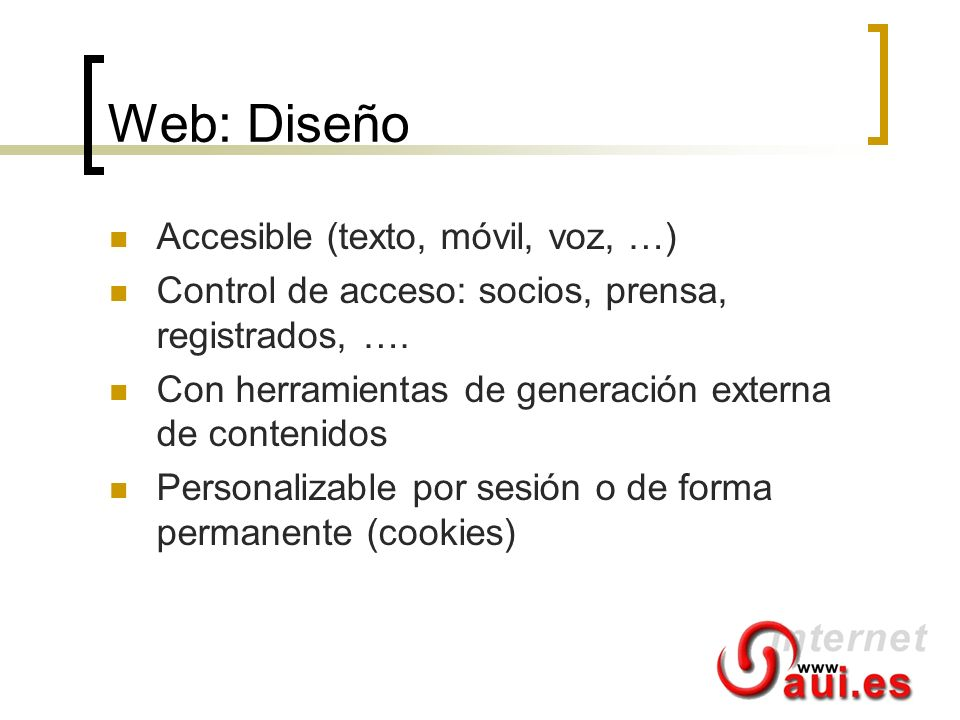 Web: Diseño Accesible (texto, móvil, voz, …)