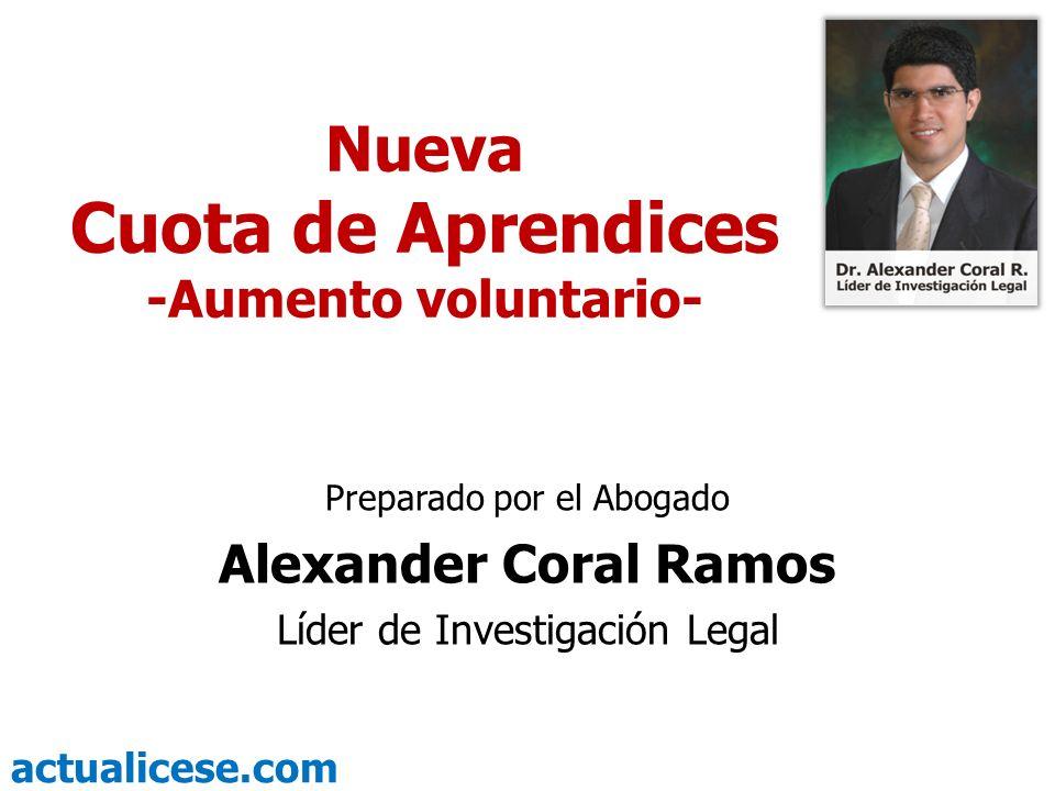 Cuota de Aprendices Nueva Alexander Coral Ramos -Aumento voluntario-
