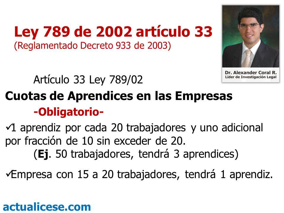 Ley 789 de 2002 artículo 33 (Reglamentado Decreto 933 de 2003)
