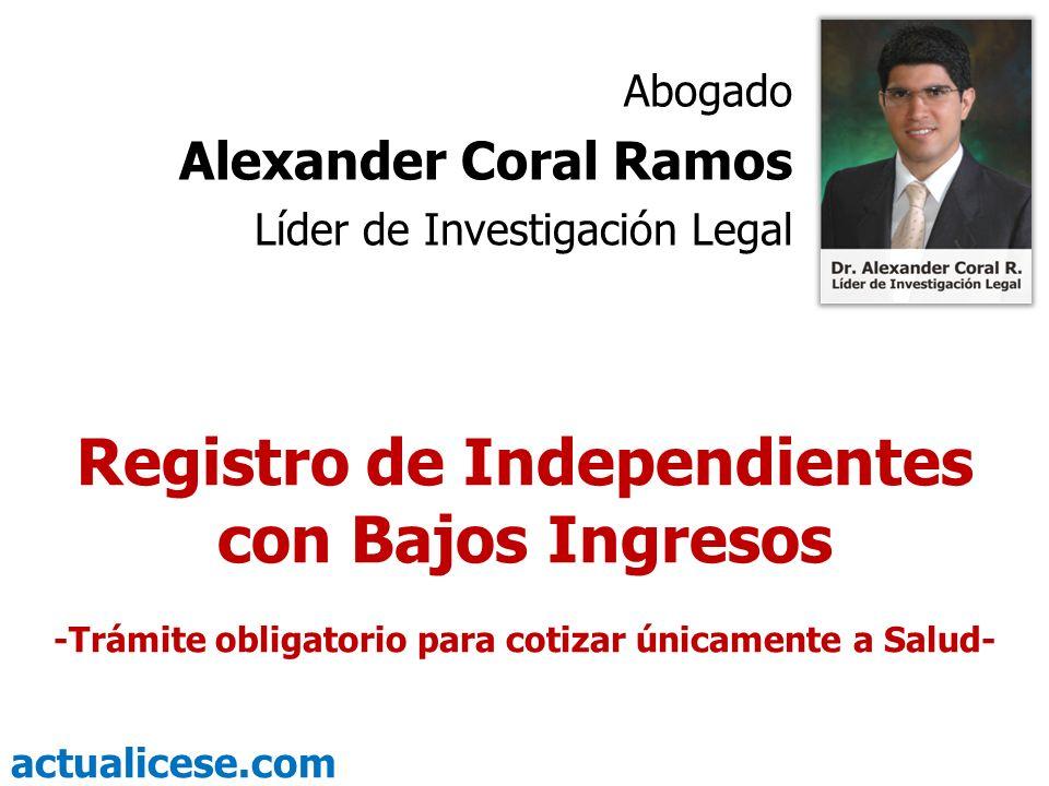 Registro de Independientes con Bajos Ingresos