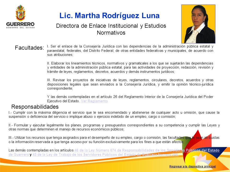 Directora de Enlace Institucional y Estudios