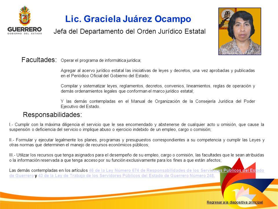 Jefa del Departamento del Orden Jurídico Estatal
