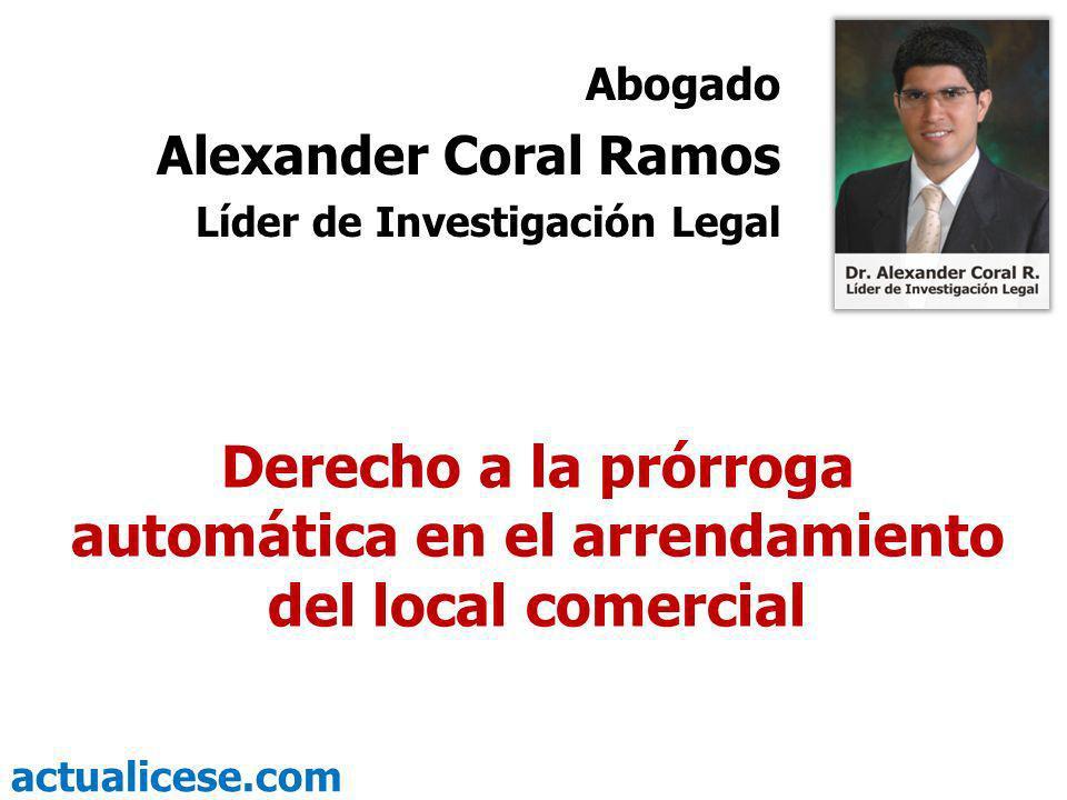 Abogado Alexander Coral Ramos. Líder de Investigación Legal.