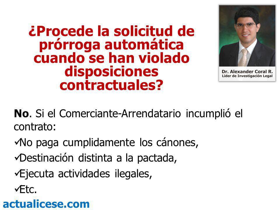 ¿Procede la solicitud de prórroga automática cuando se han violado disposiciones contractuales