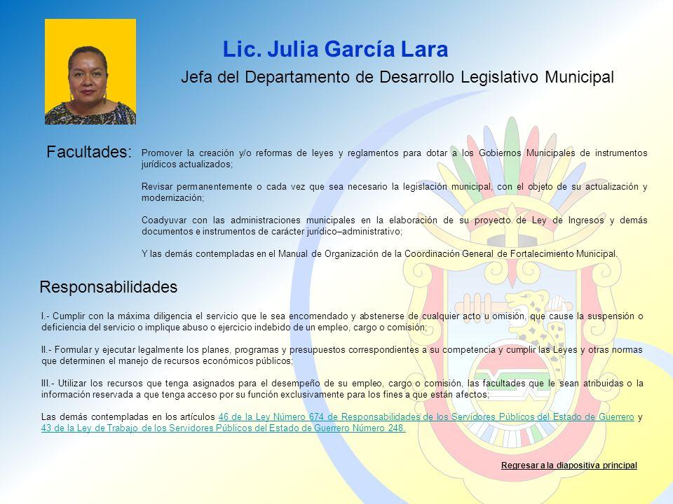 Jefa del Departamento de Desarrollo Legislativo Municipal