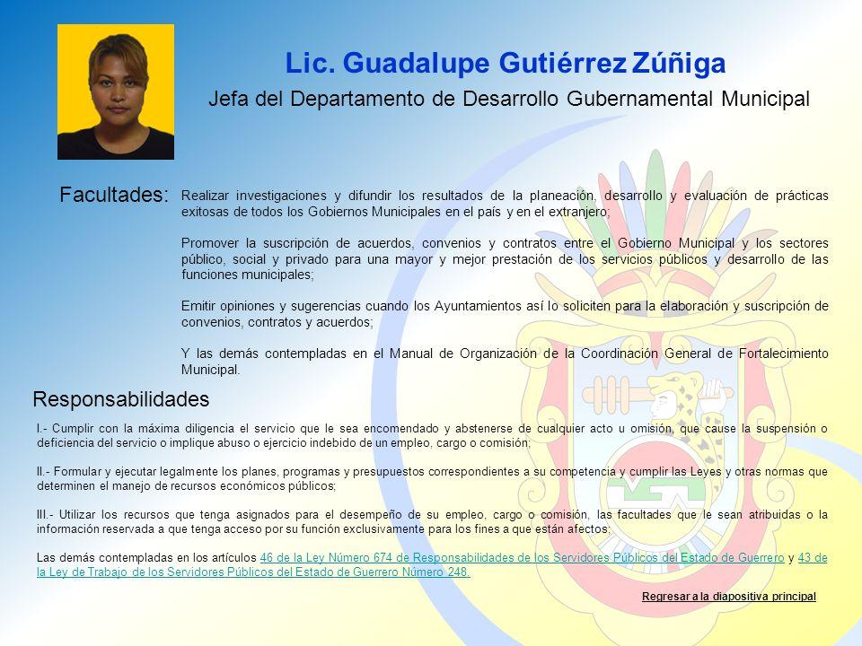 Jefa del Departamento de Desarrollo Gubernamental Municipal
