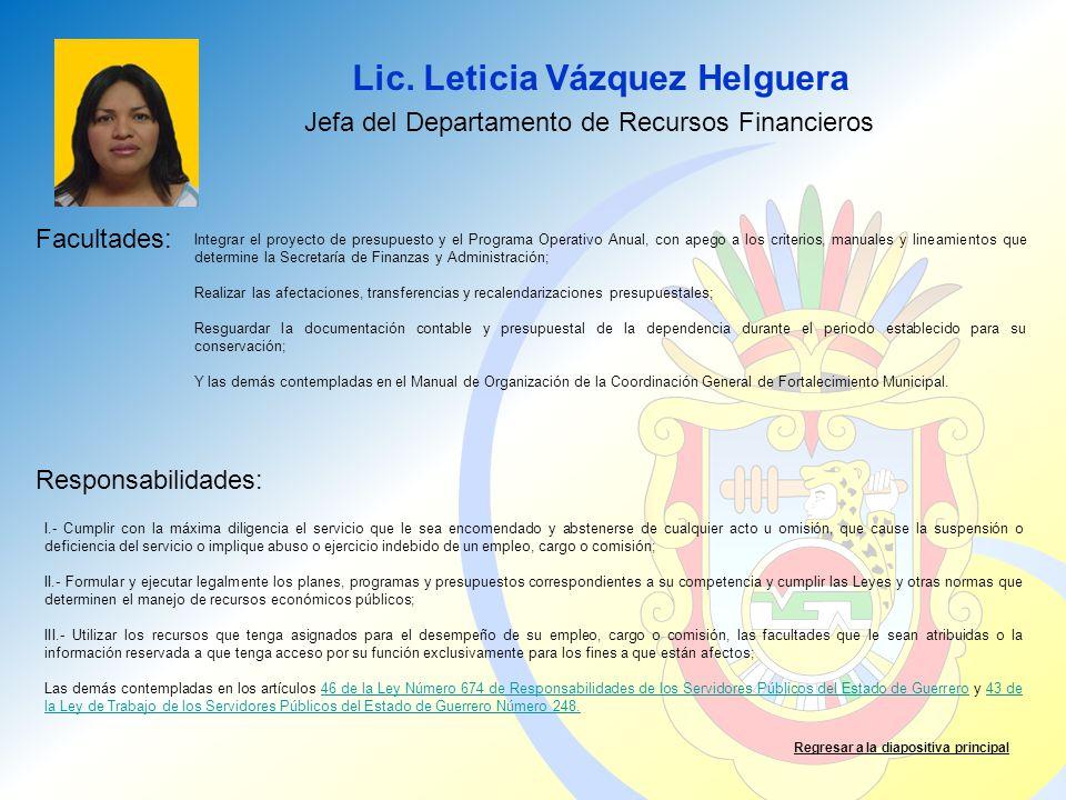 Jefa del Departamento de Recursos Financieros
