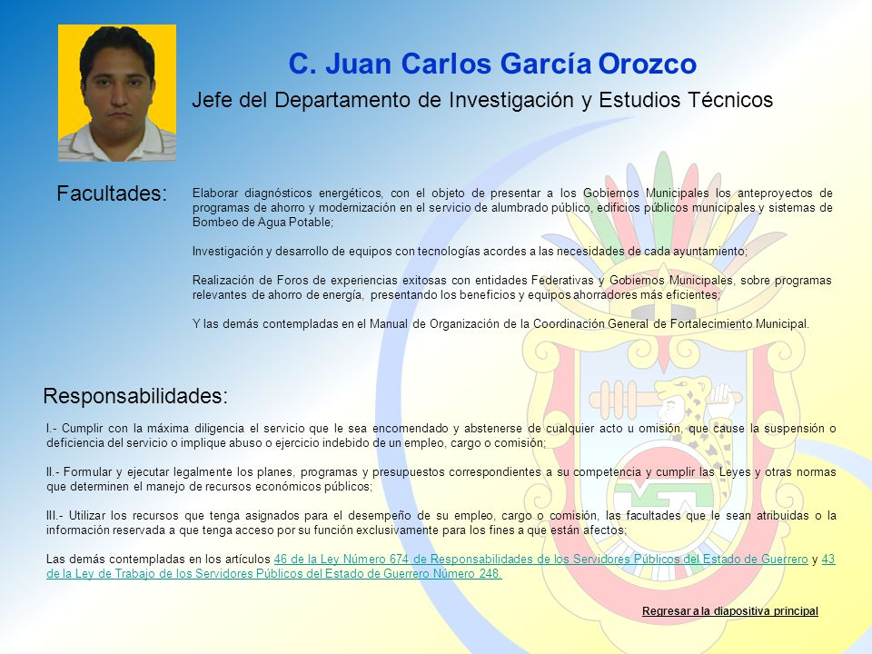 Jefe del Departamento de Investigación y Estudios Técnicos