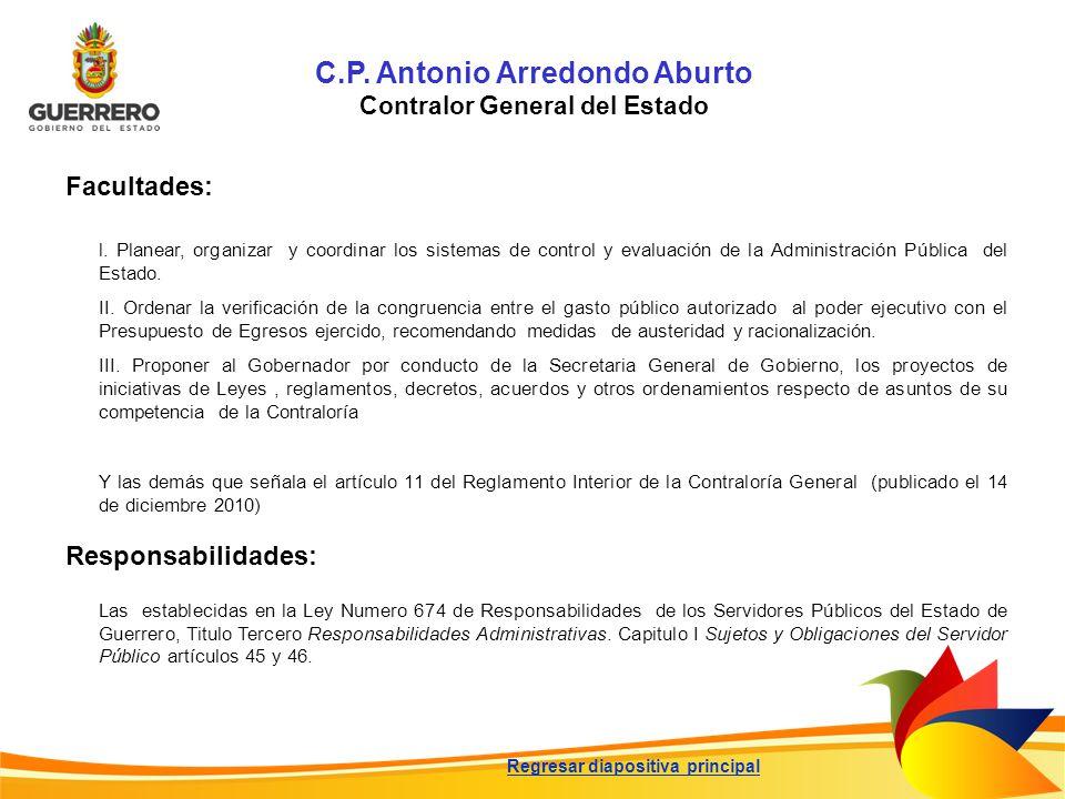 C.P. Antonio Arredondo Aburto Contralor General del Estado