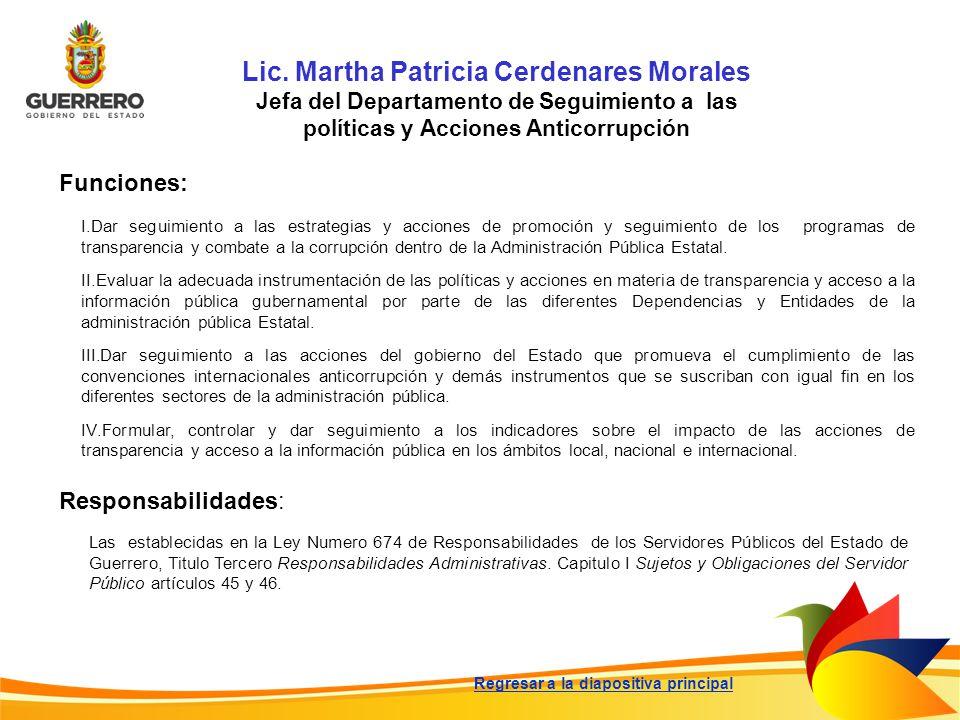 Lic. Martha Patricia Cerdenares Morales