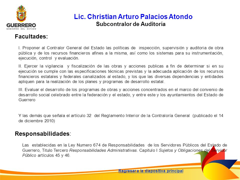 Lic. Christian Arturo Palacios Atondo Subcontralor de Auditoría