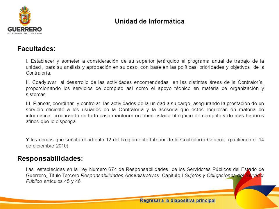 Facultades: Responsabilidades: Unidad de Informática