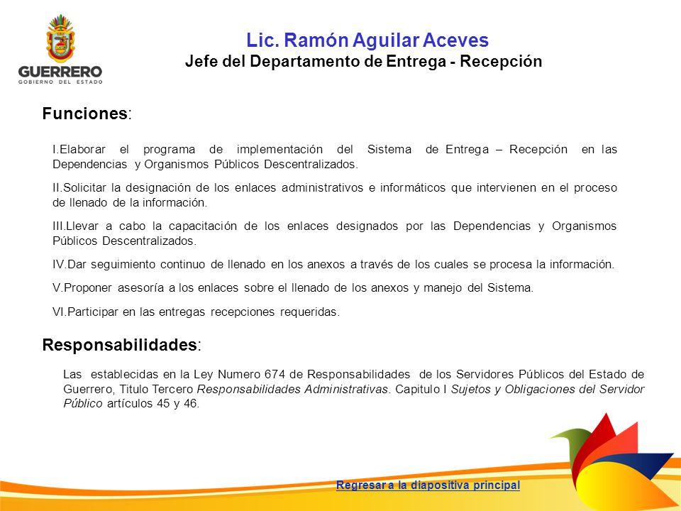 Lic. Ramón Aguilar Aceves Jefe del Departamento de Entrega - Recepción