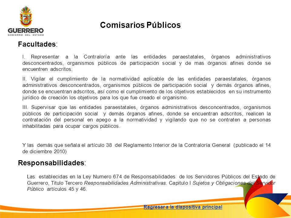 Comisarios Públicos Facultades: Responsabilidades: