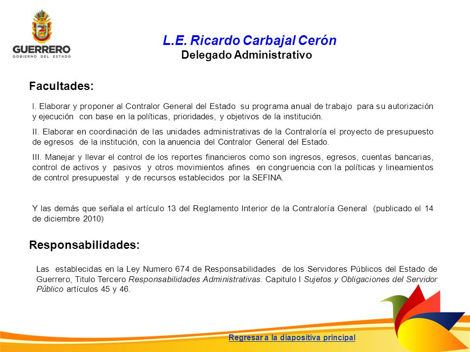 L.E. Ricardo Carbajal Cerón Delegado Administrativo