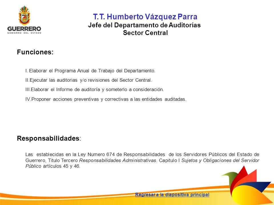 T.T. Humberto Vázquez Parra Jefe del Departamento de Auditorías