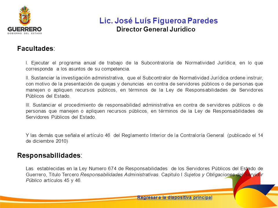 Lic. José Luís Figueroa Paredes Director General Jurídico