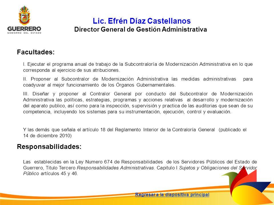 Lic. Efrén Díaz Castellanos Director General de Gestión Administrativa