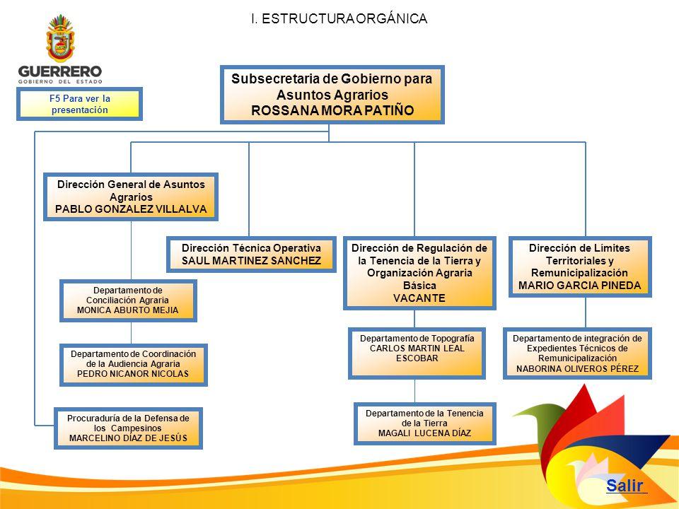 Salir I. ESTRUCTURA ORGÁNICA