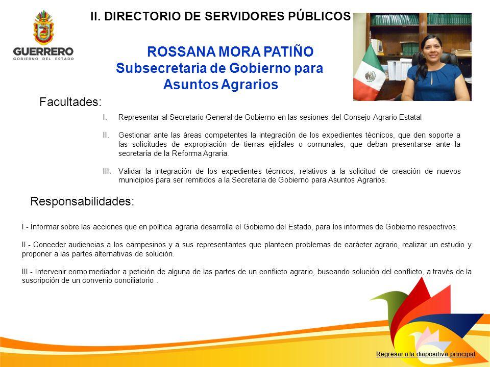 II. DIRECTORIO DE SERVIDORES PÚBLICOS Subsecretaria de Gobierno para