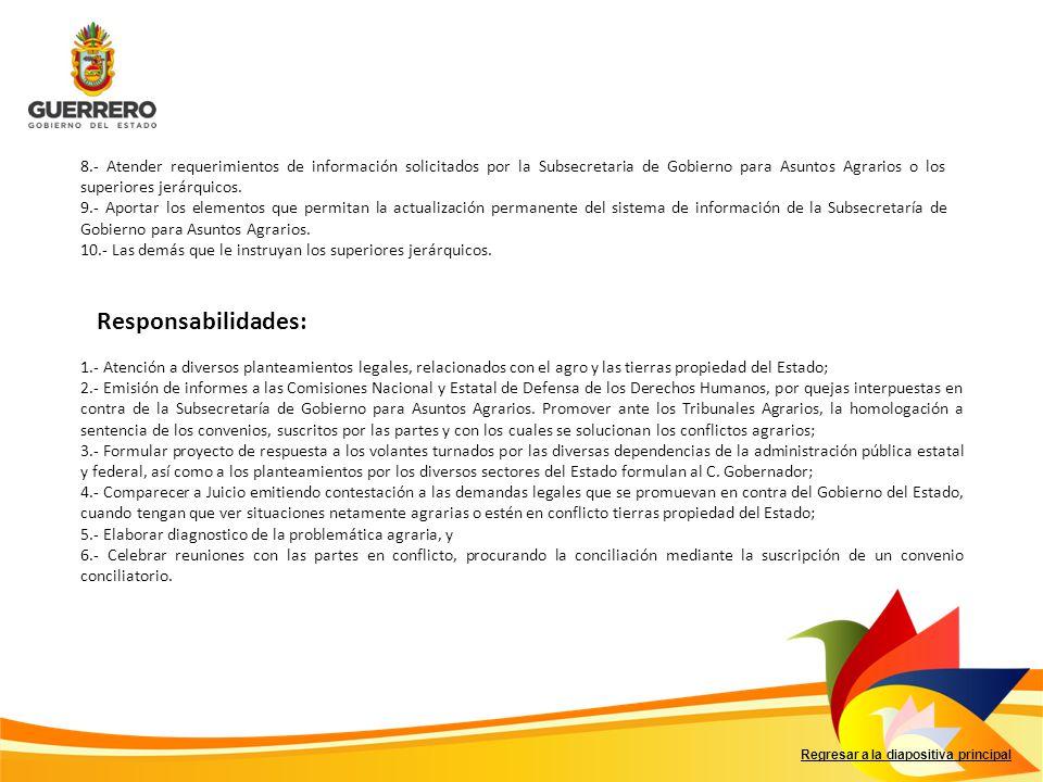 8.- Atender requerimientos de información solicitados por la Subsecretaria de Gobierno para Asuntos Agrarios o los superiores jerárquicos.