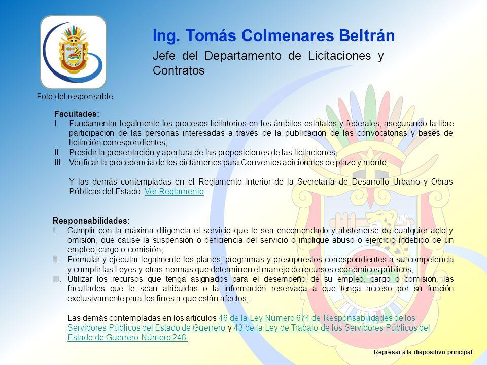 Ing. Tomás Colmenares Beltrán