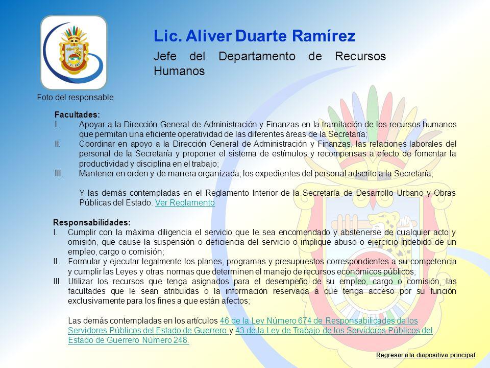 Lic. Aliver Duarte Ramírez