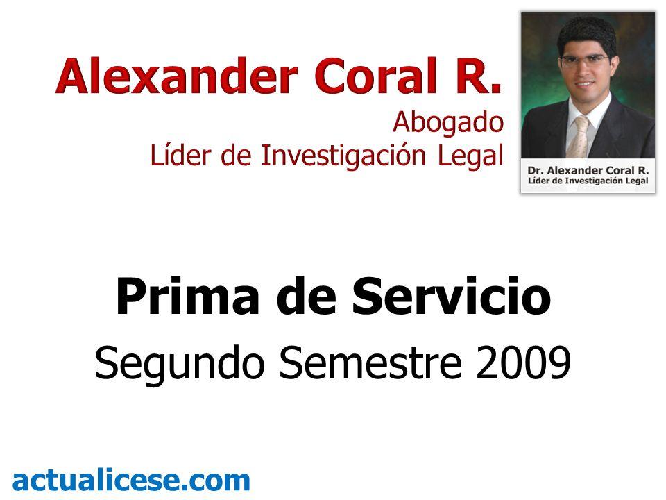 Prima de Servicio Segundo Semestre 2009