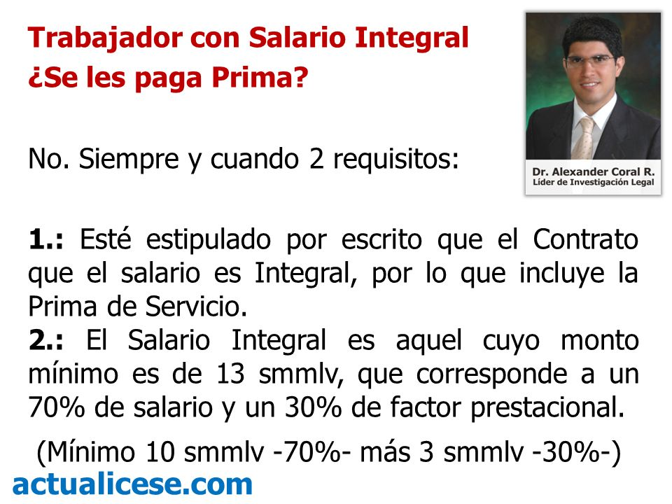 actualicese.com Trabajador con Salario Integral ¿Se les paga Prima