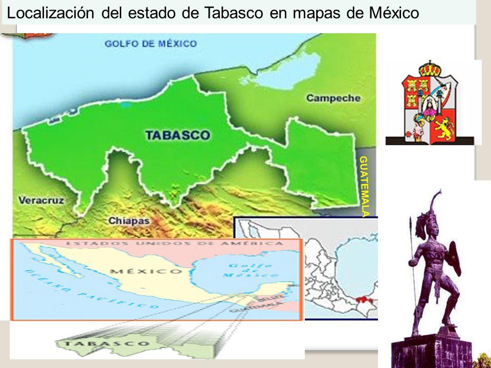 Localización del estado de Tabasco en mapas de México