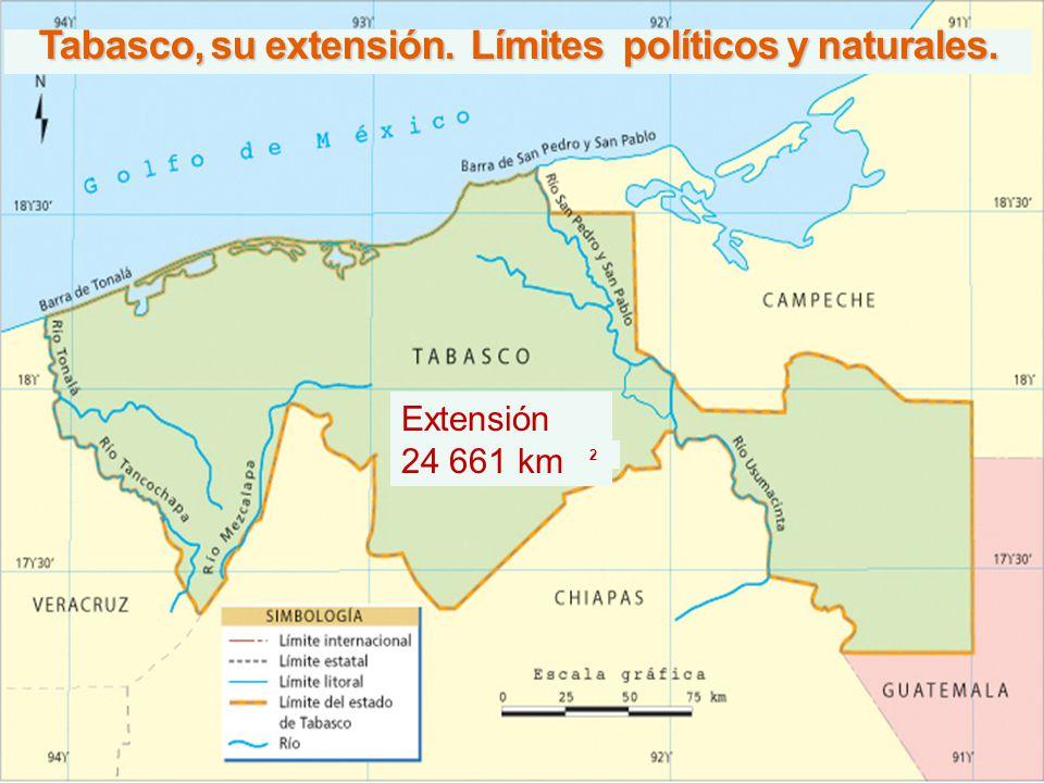 Tabasco, su extensión. Límites políticos y naturales.