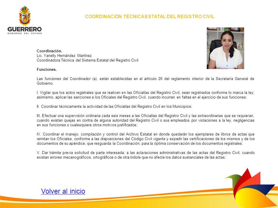 COORDINACIÓN TÉCNICA ESTATAL DEL REGISTRO CIVIL