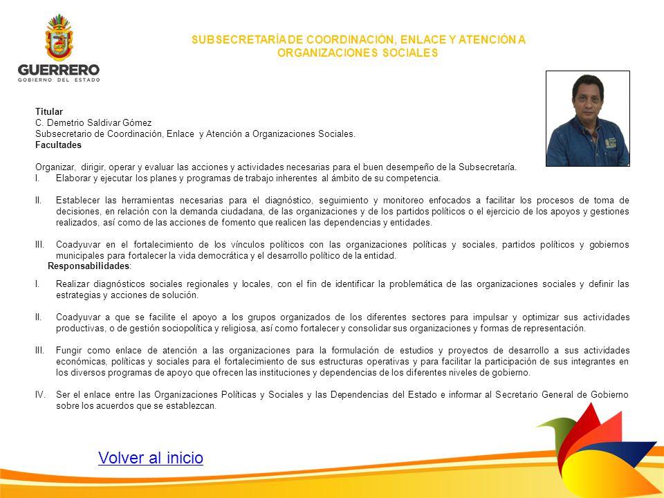 SUBSECRETARÍA DE COORDINACIÓN, ENLACE Y ATENCIÓN A ORGANIZACIONES SOCIALES