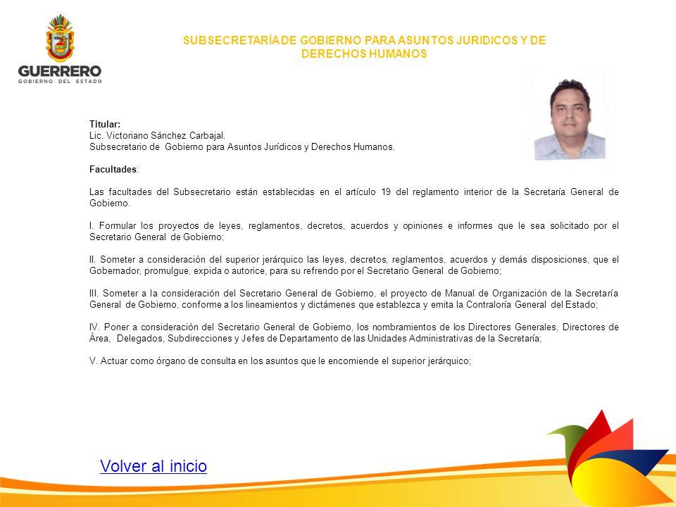 SUBSECRETARÍA DE GOBIERNO PARA ASUNTOS JURIDICOS Y DE DERECHOS HUMANOS