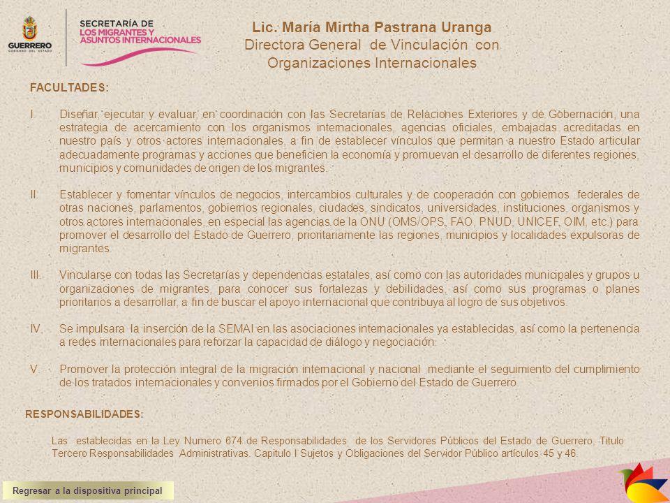 Lic. María Mirtha Pastrana Uranga Regresar a la dispositiva principal