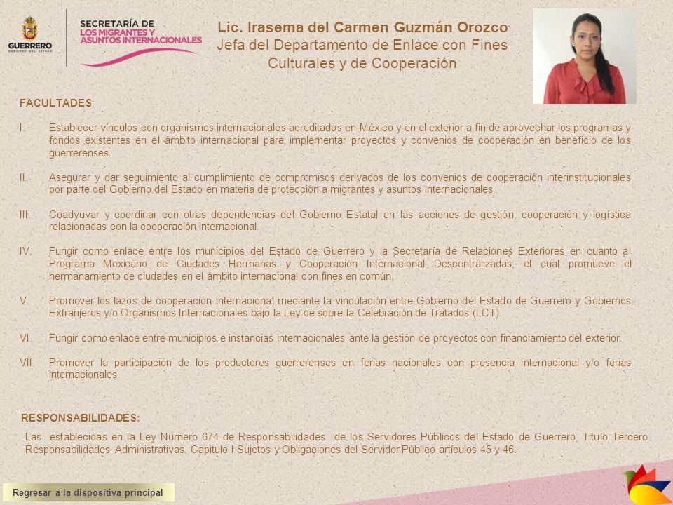 Lic. Irasema del Carmen Guzmán Orozco