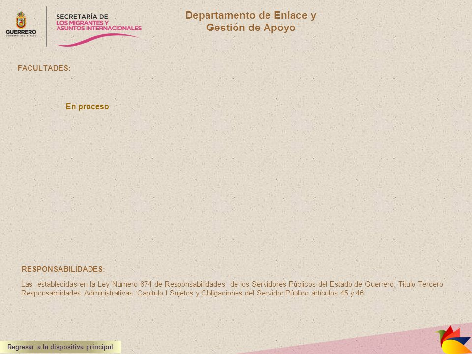 Departamento de Enlace y Regresar a la dispositiva principal