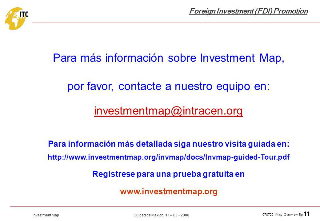 Para más información sobre Investment Map,
