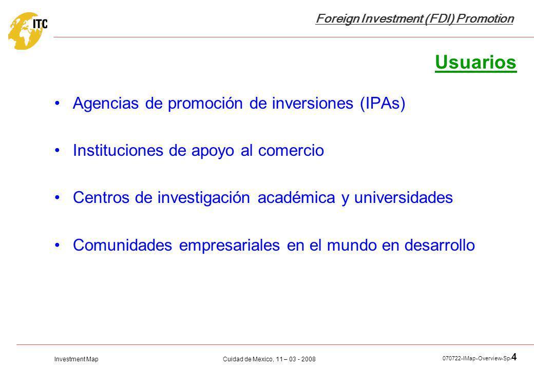 Usuarios Agencias de promoción de inversiones (IPAs)